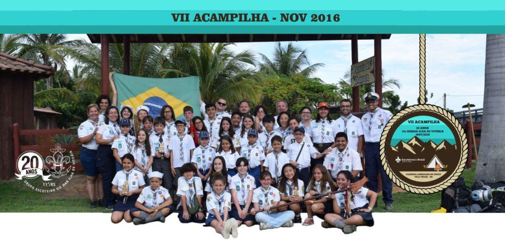 Lembrança do VII Acampilha, ocorrido em 2016